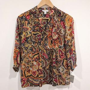 Paisley Golden Pond Charter Club Pleated Blouse